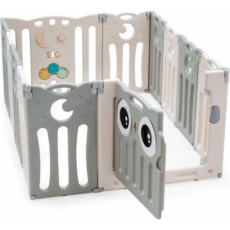 Parque Infantil Bebé de 12 Paneles Plegable Centro de Actividad para Niños Barrera de Seguridad con Puerta y Panel de Juguetes Beige