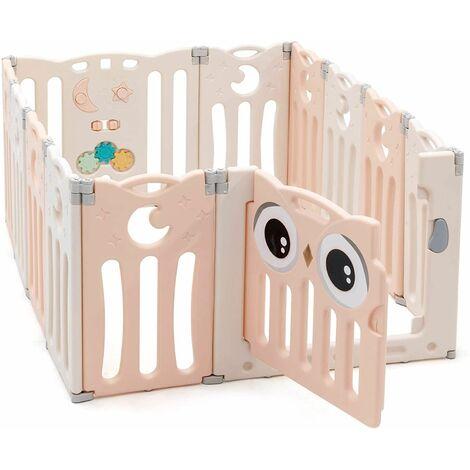 Parque Infantil Bebé de 12 Paneles Plegable Centro de Actividad para Niños Barrera de Seguridad con Puerta y Panel de Juguetes Rosa