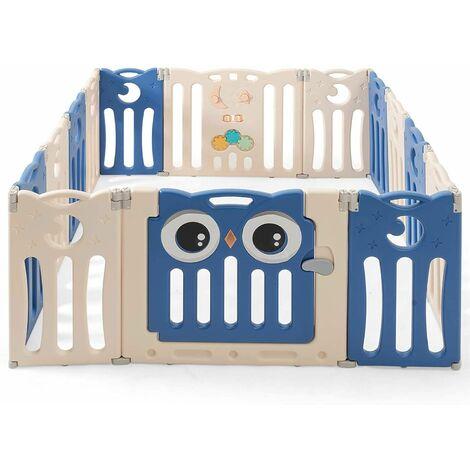 Parque Infantil Bebé de14 Paneles Centro de Actividad para Niños Barrera de Seguridad Plegable con Puerta y Panel de Juguetes Azul oscuro