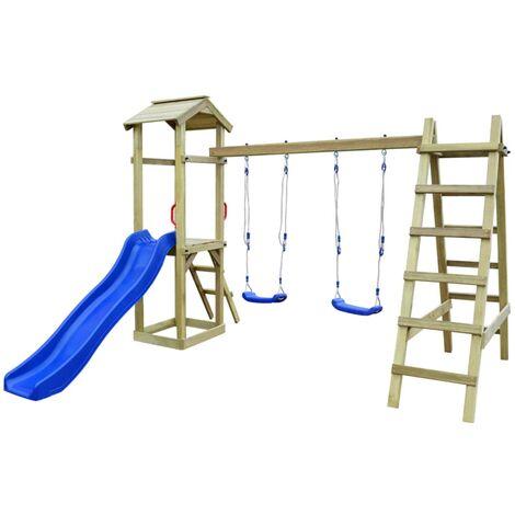 Parque infantil con escalera madera pino FSC 286x237x218 cm