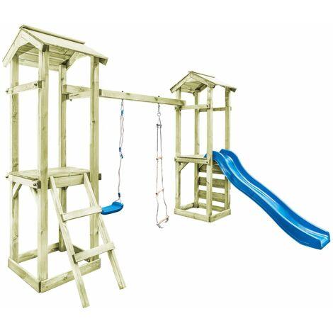 Parque infantil con escalera, tobogán y columpio de madera