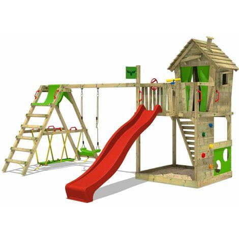 Parque infantil FATMOOSE HappyHome Hot XXL con SurfSwing y Tobogán