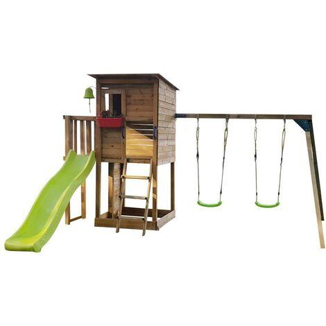 Parque Infantil Masgames TAGA L con COLUMPIO y pared de escalada
