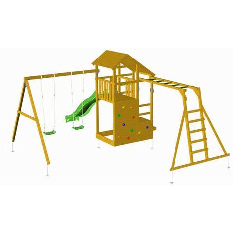 Parque Infantil MASGAMES TEIDE con columpio doble y puente mono