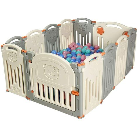 Parque Infantil para Bebé de HDPE 12 Panel Barrera de Seguridad con Cerradura Base de Ventosa