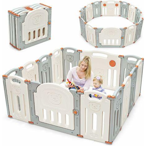 Parque Infantil para Bebé de HDPE 14 Panel Barrera de Seguridad con Cerradura Base de Ventosa
