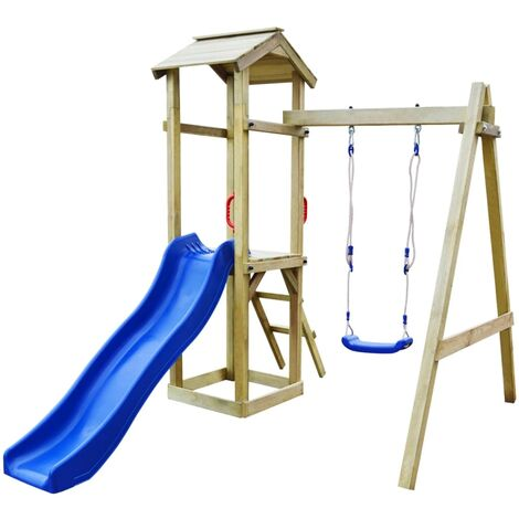 Parque infantil tobogán escalera y columpios madera de pino FSC