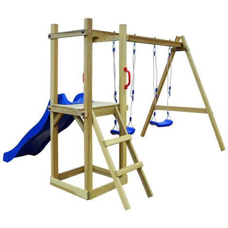 Parque infantil tobogán escalera y columpios madera pino FSC