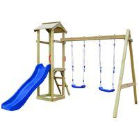 Parque infantil tobogán, escalera y columpios madera pino FSC