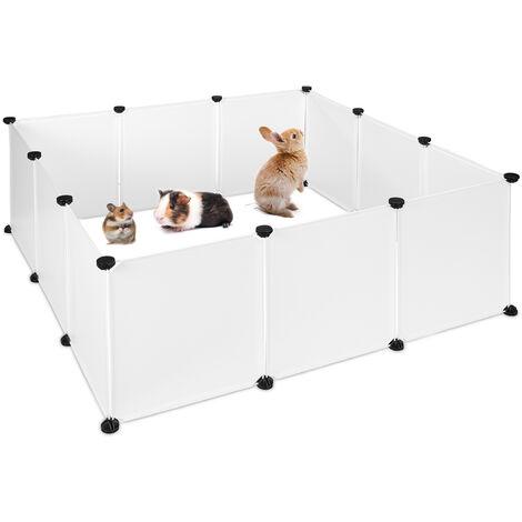 Parque Mascotas Ampliable para Conejos, Cobayas y Cachorros, Metal y Plástico, Blanco, 47 x 110 x 110 cm