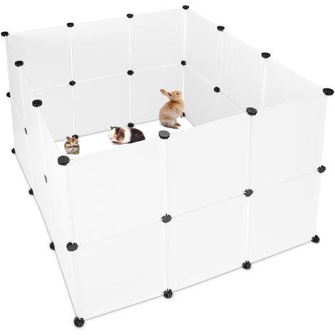 Parque Mascotas Ampliable para Conejos, Cobayas y Cachorros, Metal y Plástico, Blanco, 92 x 110 x 110 cm