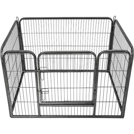 Parque para cachorros 4 vallas - parque para perros con rejas de acero, accesorios para criar mascotas en casa, parque plegable para animales pequeños - gris
