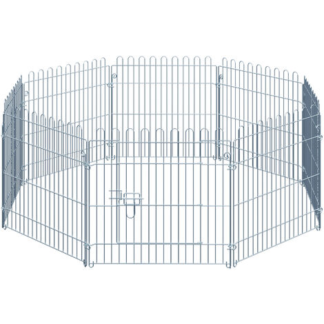 PawHut Parque Jaula Mascota Corral 8 Vallas para Perro Entrenamiento con Puerta 63x60 cm - Plateado