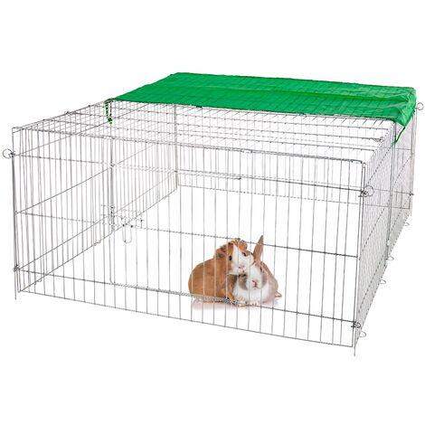Parque para mascotas pequeñas jaula acero recinto con proteccón solar 140 x 60cm