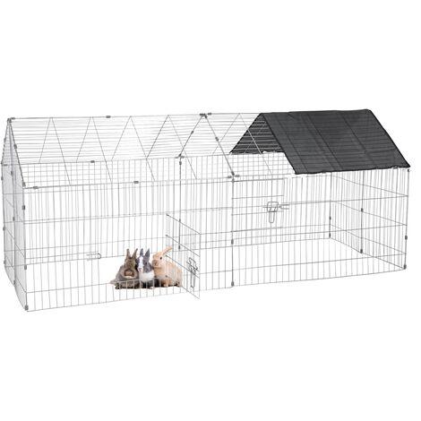 Parque para mascotas pequeñas jaula acero recinto con proteccón solar 180 x 74cm