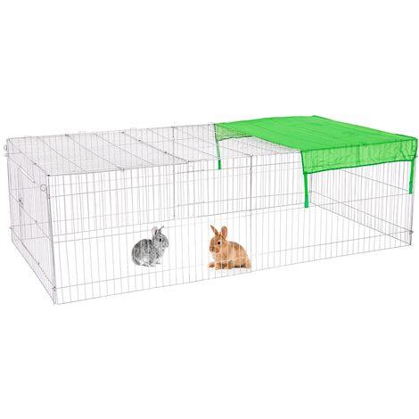 Parque para mascotas pequeñas jaula acero recinto con proteccón solar 212 x 64cm