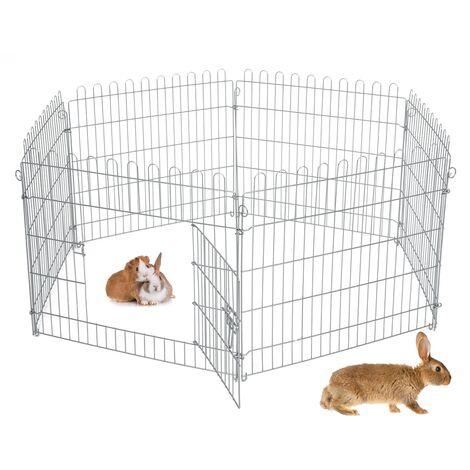 Parque para mascotas pequeñas jaula acero recinto exterior 7 rejillas 70x60 cm
