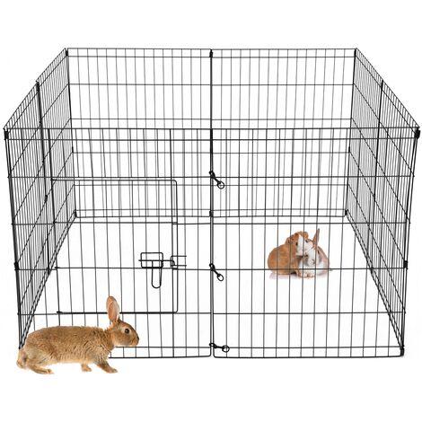 Parque para mascotas pequeñas jaula acero recinto exterior 8 rejillas 124x76 cm