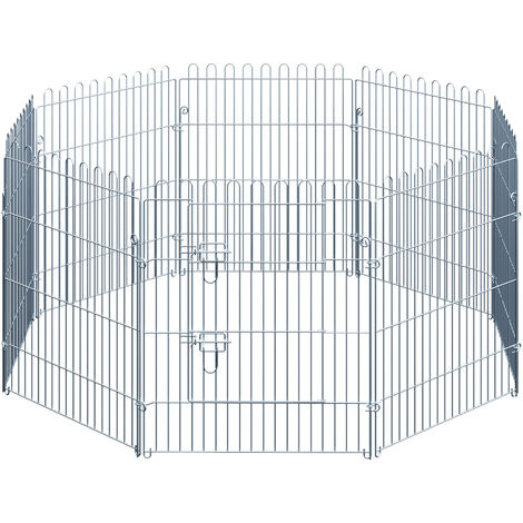 PawHut Parque Jaula Mascota Corral 8 Vallas para Perro Entrenamiento con Puerta 63x76 cm - Plateado