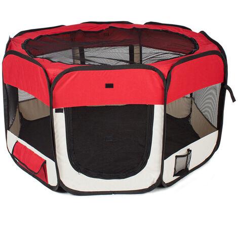 Parque para perro gato plegable, 125 * 125 * 61 cm, 49 cm * 61 cm * 8 piezas + 1 estuche de transporte-rojo