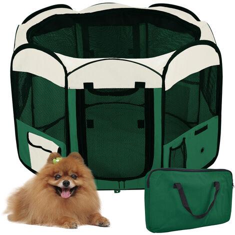 Parque para perro gato plegable, 125 * 125 * 61 cm, 49 cm * 61 cm * 8 piezas + 1 estuche de transporte-verde