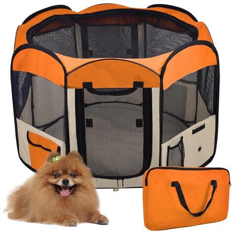 Parque para perro gato plegable, 125 * 125 * 61 cm, 49 cm * 61 cm * 8 piezas + 1 funda de transporte-naranja