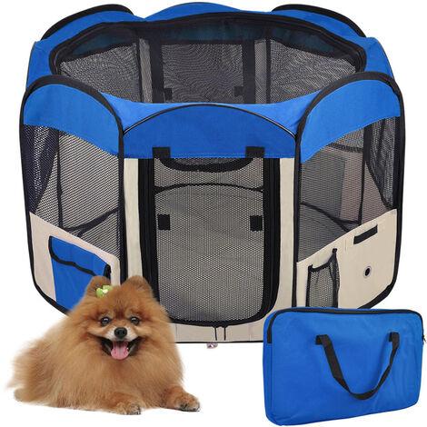 Parque para Perro Gato Plegable, 125 * 125 * 61cm, 49cm * 61cm * 8pcs + 1 Estuche de Transporte-Azul