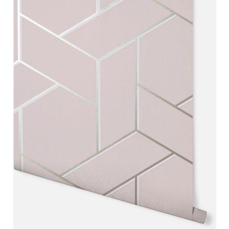 "main image of ""Parquet Geo Pink & Rose Wallpaper - Arthouse - 695500"""