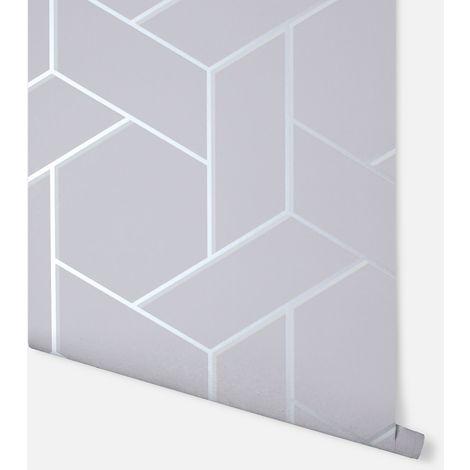 Parquet Geo Silver Wallpaper - Arthouse - 695501