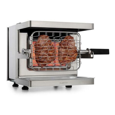 Parrilla de gas vertical Klarstein Crossfire 800°C Quemador infrarrojo 12.000 BTU Plata