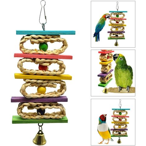 Parrot Chew Hammock with Bell Colorful Wooden Hanging Toys for Parrot, Chew Perch, Small and Medium Pet Swing