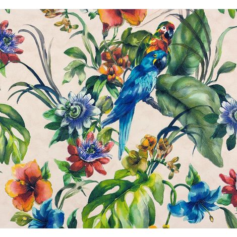 Parrots Wallpaper Birds Flowers Watercolour Washable Vinyl Blue Multicoloured