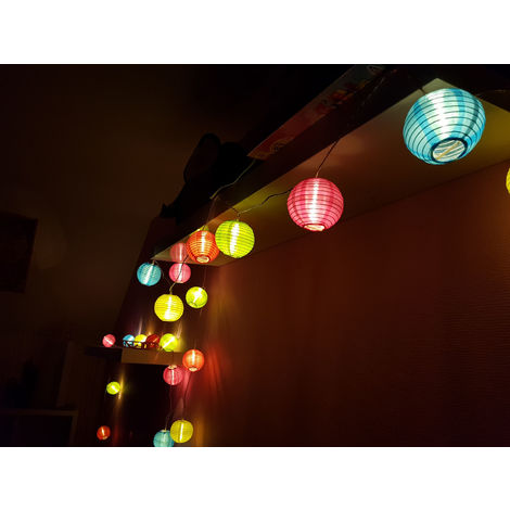 Party Lighting - 20 LED - Lampions: bunt - LED in warm white