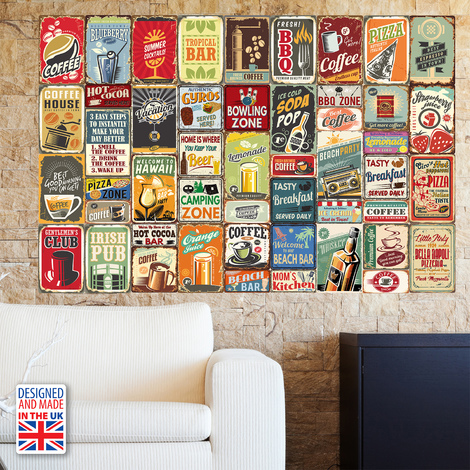 Party Metal Signs Collage Mural Self-adhesive Wallpaper 180cm x 120