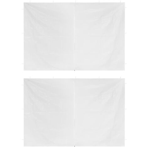 Party Tent Doors 2 pcs with Zipper White - White