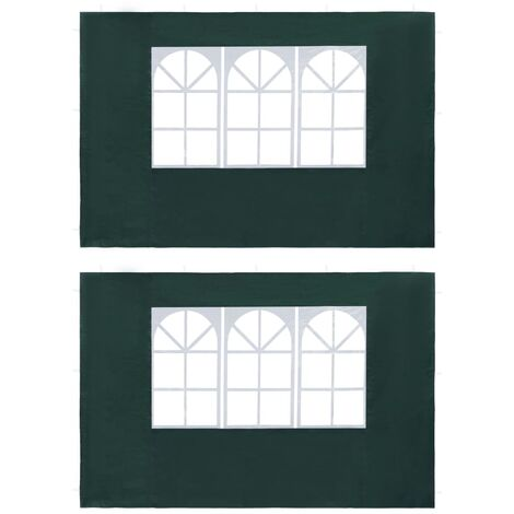 Party Tent Sidewall 2 pcs with Window PE Green