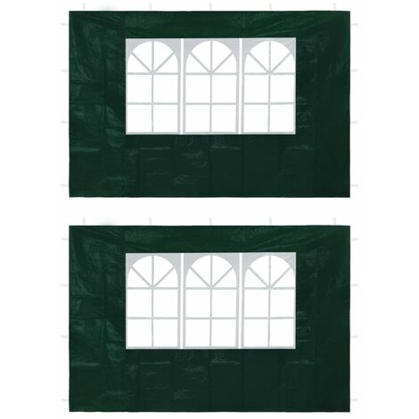 Party Tent Sidewalls 2 pcs with Window Green - Green