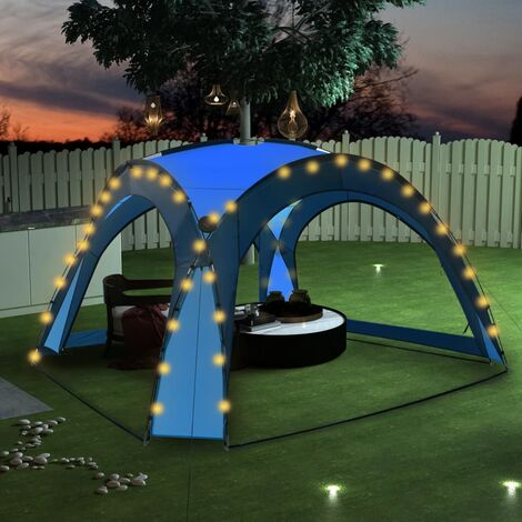 Party Tent with LED and 4 Sidewalls 3.6x3.6x2.3 m Blue