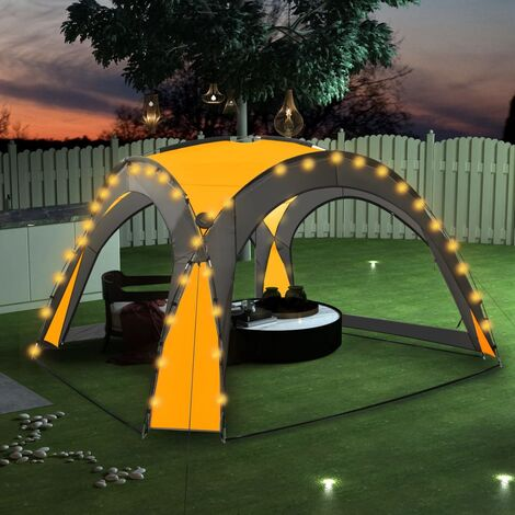 Party Tent with LED and 4 Sidewalls 3.6x3.6x2.3 m Yellow - Yellow