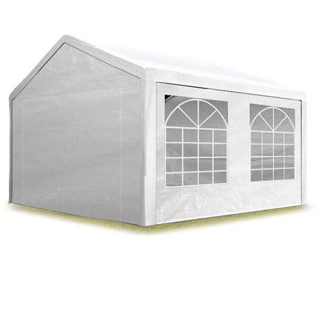 Partyzelt Pavillon 3x5 m in weiß 180 g/m² PE Plane Wasserdicht UV Schutz Festzelt Gartenzelt
