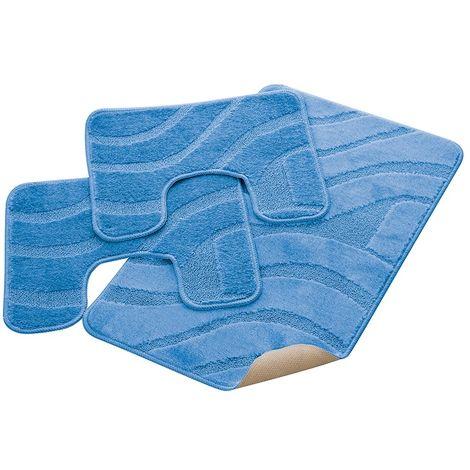 Parure Bagno 3 Pezzi Color Azzurro In Polipropilene 100% Antiscivolo