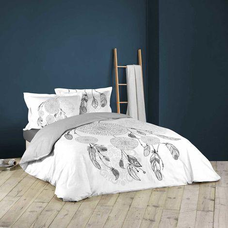 Parure de couette imprimée motifs amériendiens blanc / gris 240 x 220 cm + 2T