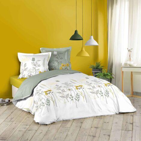Parure de lit 240 x 220 cm coton 42 fils + 2 taies Fleurs des champs