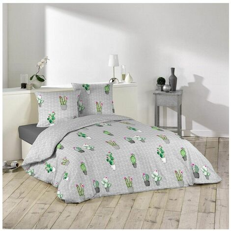 Parure de lit 3 pièces - L 240 x l 220 cm - Cactus