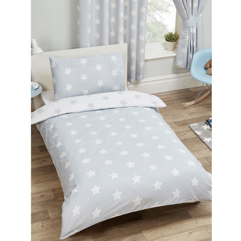 Parure de lit grise étoile pour lit junior couchage 140 * 70 cm