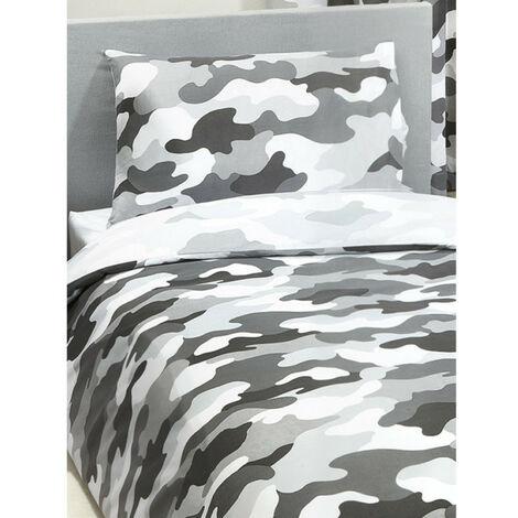 Parure de lit simple camouflage l'armée grise - 135 cm x 200 cm