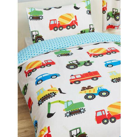 Parure de lit simple tracteur, voiture, camion - 120 cm x 150 cm