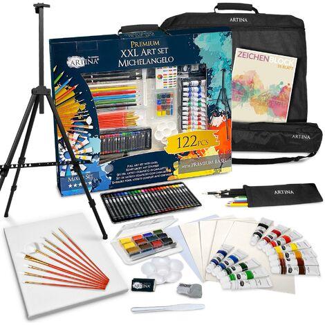 Pasa el ratón por encima de la imagen para ampliarla Artina XXL Set de Pintura de 122 Piezas Caballete & Set de Artista Michelangelo con lápices de Colores, Set de Pinceles, Colores acrílicos, Acuarelas.etc