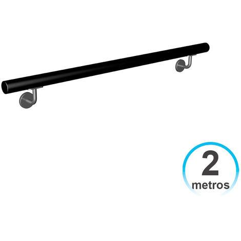 Pasamanos Barandilla 2 metros Hierro Lacado con 2 Soportes Negro para Escalera 7hSevenOn Deco