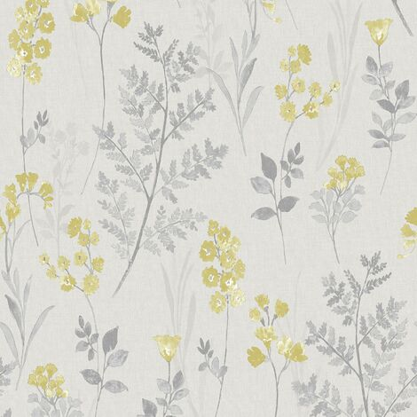 Pashley Wallpaper Holden Décor Floral Grey Yellow Flower Natural